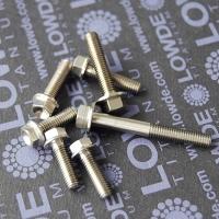 DIN 6921 M5 de titanio gr. 5. Cabeza hexagonal con balona.