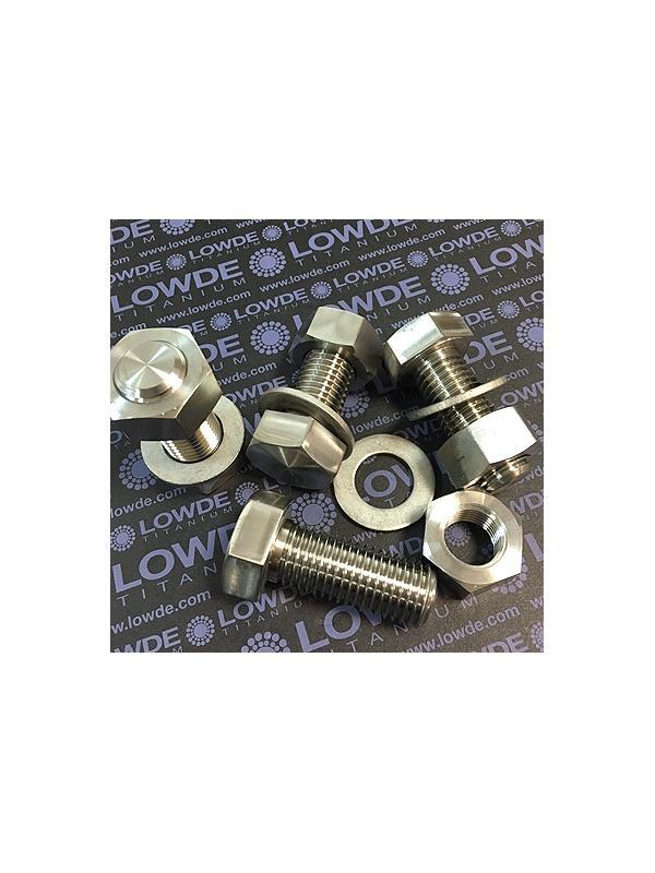 10 Tornillos DIN 933 M20x50 mm. de titanio gr. 2 (puro) - 10 Tornillos DIN 933 M20x2,50x50 mm. con tuerca y arandela de titanio gr. 2 (puro)