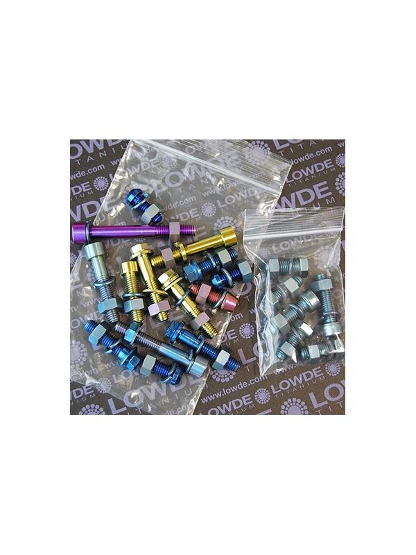 Conjunto de 20 Tornillos M8 de Titanio, con tuerca y arandela. - 20 Tornillos M8 en longitudes de 20 a 63 mm. Titanio con tuerca y arandela. Anodizados en colores.