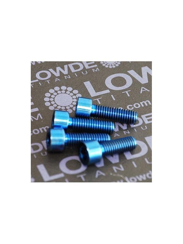 Conjunto 4 tornillos DIN 912 M6x18 titanio gr. 5 (6Al4V) anodizados azul - Conjunto 4 tornillos DIN 912 M6x18 titanio gr. 5 (6Al4V) anodizados azul