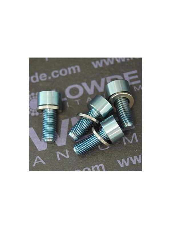 Kit 4 tornillos M5x12 DIN 912 titanio gr. 5 con arandelas. Anodizados azul claro