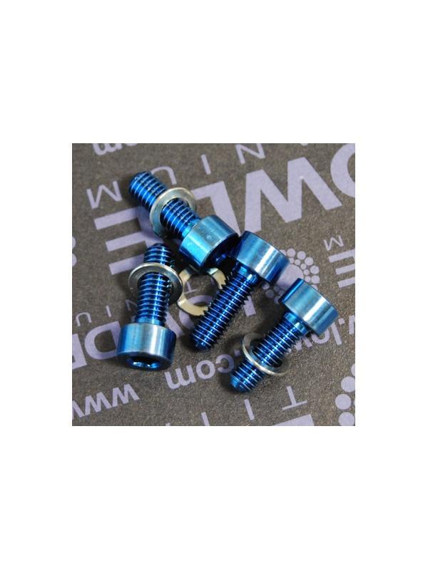 Kit 4 tornillos M5x14 DIN 912 titanio gr. 5. Anodizados azul intenso - Kit 4 tornillos M5x14 DIN 912 titanio gr. 5 (6Al-4V). Anodizados azul intenso