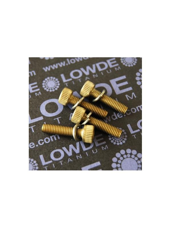 Kit 4 tornillos M5x20 mm. Titanio gr. 2. anodizados bronce - Kit 4 tornillos M5x20 mm. Titanio gr. 2. anodizados bronce