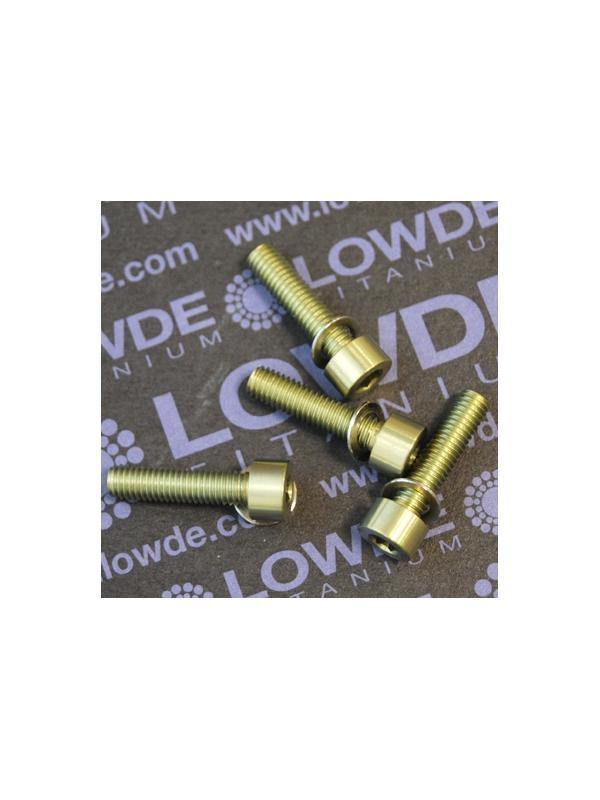 Kit 4 tornillos M5x20 DIN 912 titanio gr. 5. Anodizados oro - Kit 4 tornillos M5x20 DIN 912 titanio gr. 5 (6Al-4V). Anodizados oro