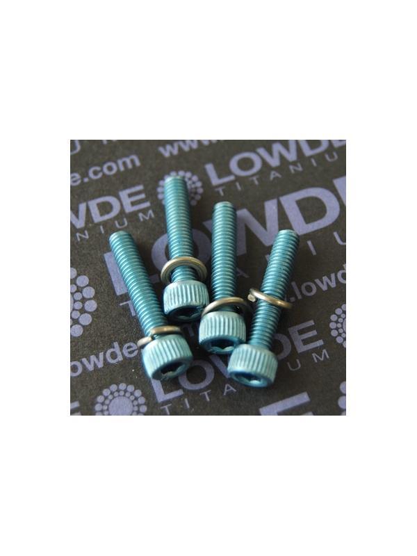 Kit 4 tornillos M5x25 mm. Titanio gr. 2. anodizados azul - Kit 4 tornillos M5x25 mm. Titanio gr. 2. anodizados azul