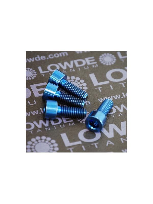 Kit 4 tornillos DIN 912 M6x16 mm. de Titanio gr. 5 (6Al4V). Anodizado azul - Kit 4 tornillos DIN 912 M6x16 mm. de Titanio gr. 5 (6Al4V). Anodizado azul