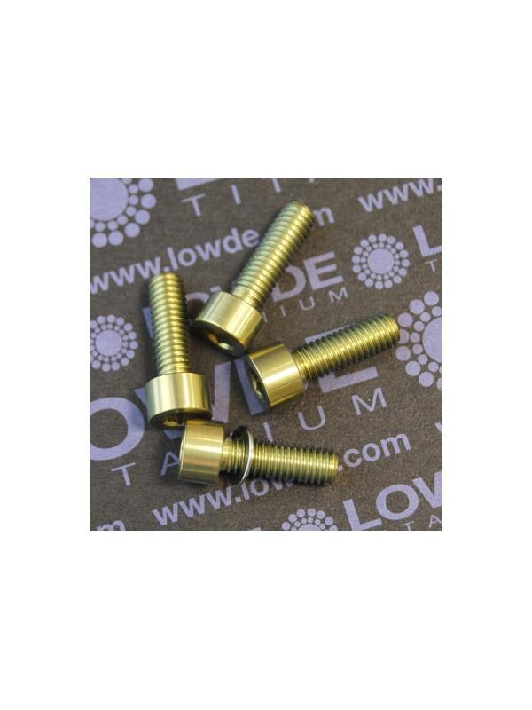 Conjunto 4 tornillos DIN 912 M6x18 titanio gr. 5 (6Al4V) anodizados oro - Conjunto 4 tornillos DIN 912 M6x18 titanio gr. 5 (6Al4V) anodizados oro