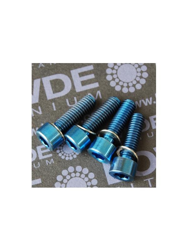 Conjunto 4 tornillos DIN 912 M6x20 titanio gr. 5 (6Al4V) anodizados azul - Conjunto 4 tornillos DIN 912 M6x20 titanio gr. 5 (6Al4V) anodizados azul