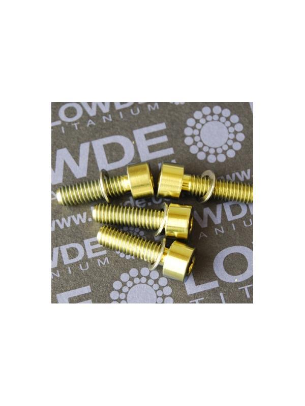 Conjunto 4 tornillos DIN 912 M6x20 titanio gr. 5 (6Al4V) anodizados oro - Conjunto 4 tornillos DIN 912 M6x20 titanio gr. 5 (6Al4V) anodizados oro