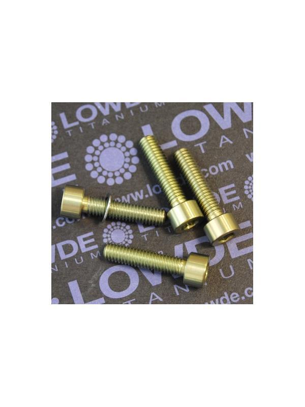 Conjunto 4 tornillos DIN 912 M6x25 titanio gr. 5 (6Al4V) anodizados oro - Conjunto 4 tornillos DIN 912 M6x25 titanio gr. 5 (6Al4V) anodizados oro