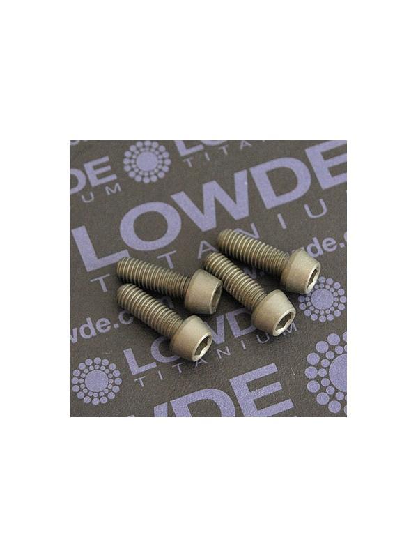 Kit 4 tornillos CÓNICOS M5x15 titanio gr. 5 Anodizados