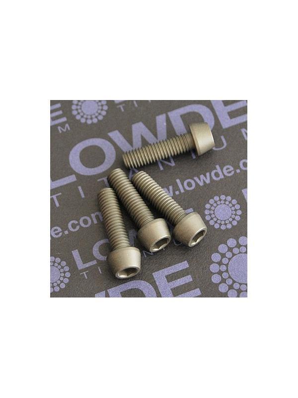 Kit 4 tornillos CÓNICOS M5x18 titanio gr. 5 Anodizados