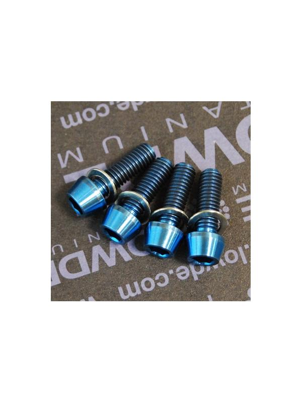 Kit 4 tornillos CÓNICOS M5x15 titanio gr. 5 Anodizados azul intenso. - Kit 4 tornillos CÓNICOS M5x15 titanio gr. 5 Anodizados color azul intenso