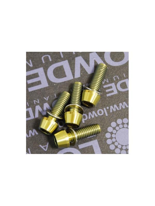 Kit 4 tornillos CÓNICOS M5x15 titanio gr. 5 Anodizados oro - Kit 4 tornillos CÓNICOS M5x15 titanio gr. 5 Anodizados color amarillo oro