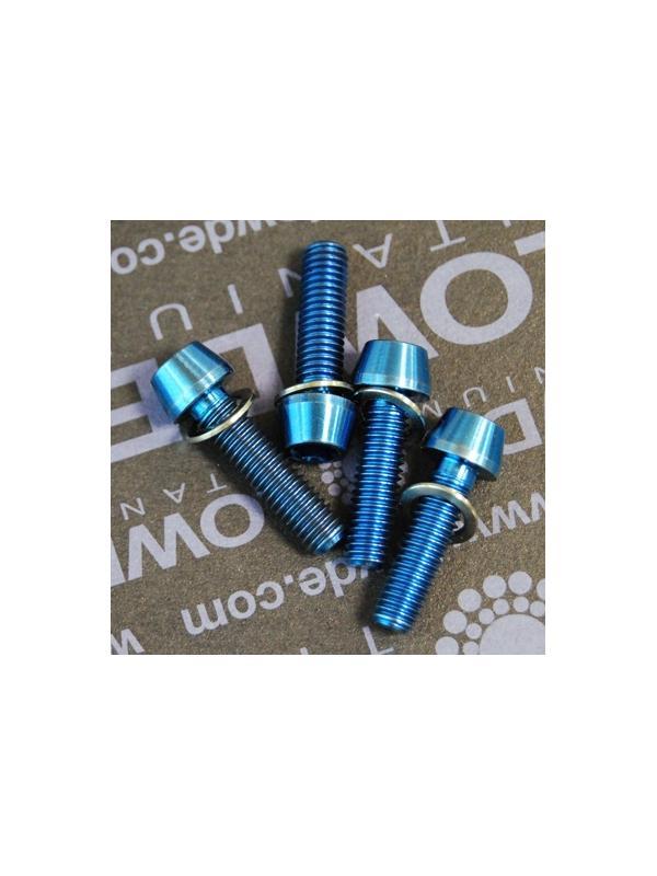 Kit 4 tornillos CÓNICOS M5x18 titanio gr. 5 Anodizados azul intenso. - Kit 4 tornillos CÓNICOS M5x18 titanio gr. 5 Anodizados color azul intenso