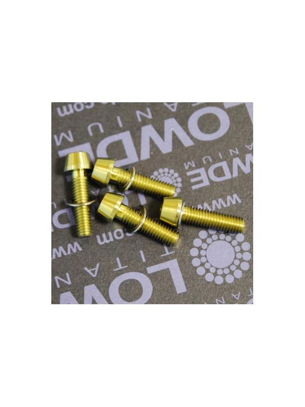 Kit 4 tornillos CÓNICOS M5x18 titanio gr. 5 Anodizados oro - Kit 4 tornillos CÓNICOS M5x18 titanio gr. 5 Anodizados color amarillo oro