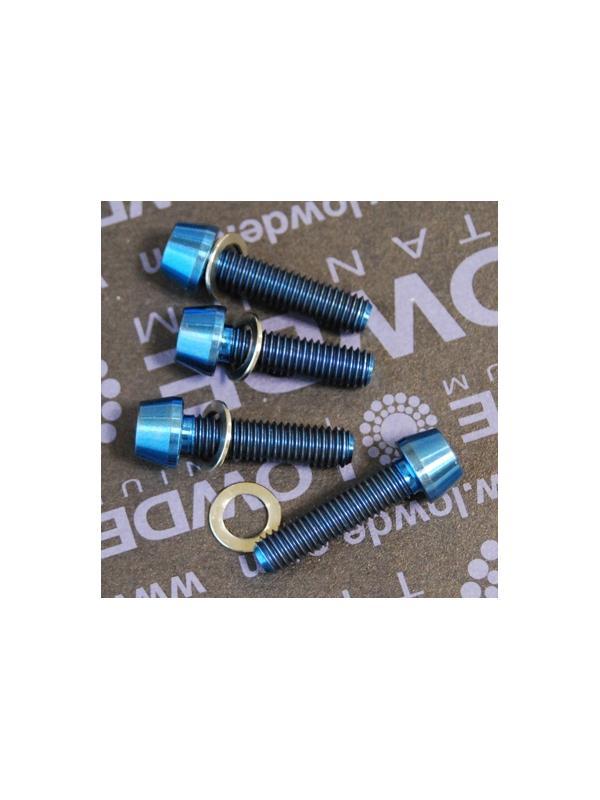 Kit 4 tornillos CÓNICOS M5x20 titanio gr. 5 Anodizados azul intenso. - Kit 4 tornillos CÓNICOS M5x20 titanio gr. 5 Anodizados color azul intenso