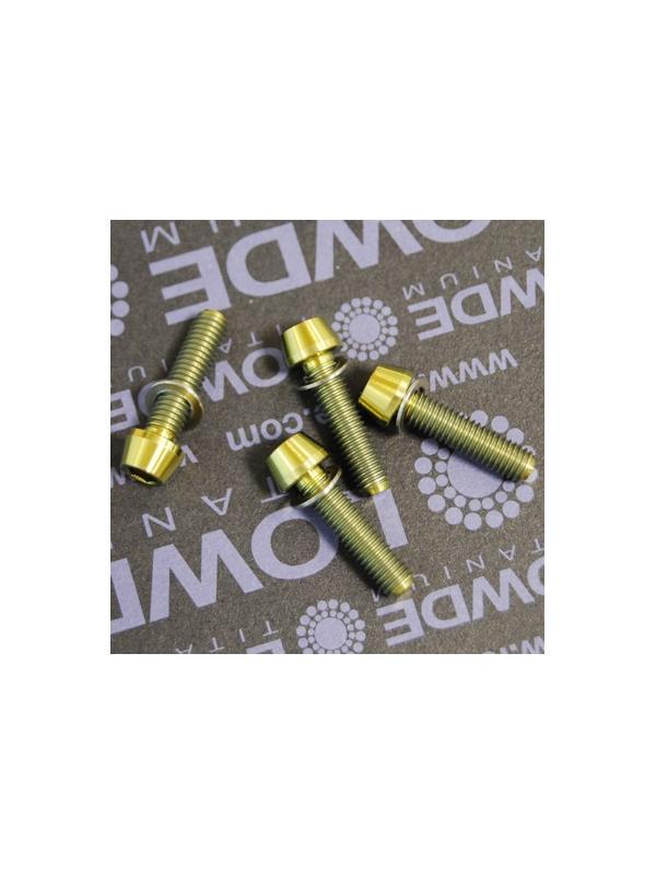 Kit 4 tornillos CÓNICOS M5x20 titanio gr. 5 Anodizados oro - Kit 4 tornillos CÓNICOS M5x20 titanio gr. 5 Anodizados color amarillo oro