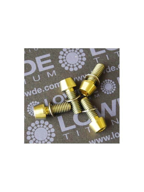 Conjunto 4 tornillos CÓNICOS M6x15 titanio gr. 5 (6Al4V) anodizados oro - Conjunto 4 tornillos CÓNICOS M6x15 titanio gr. 5 (6Al4V) anodizados oro