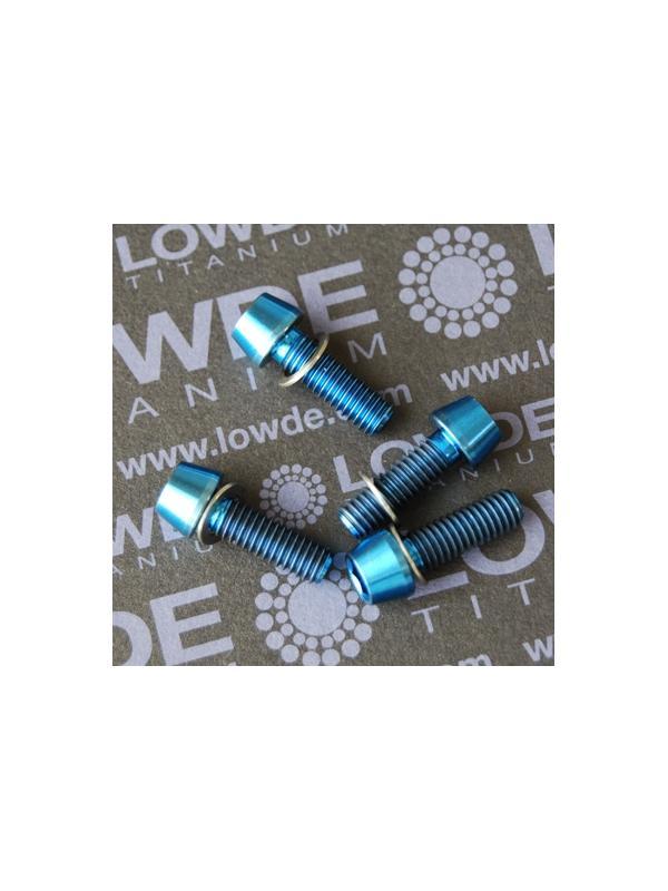 Conjunto 4 tornillos CÓNICOS M6x18 titanio gr. 5 (6Al4V) anodizados azul - Conjunto 4 tornillos CÓNICOS M6x18 titanio gr. 5 (6Al4V) anodizados azul