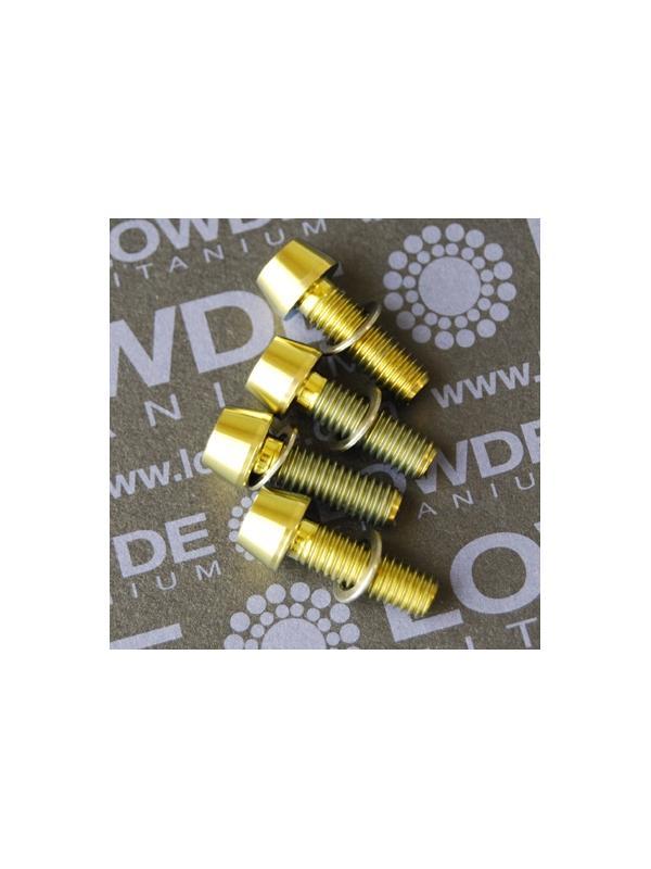 Conjunto 4 tornillos CÓNICOS M6x18 titanio gr. 5 (6Al4V) anodizados oro - Conjunto 4 tornillos CÓNICOS M6x18 titanio gr. 5 (6Al4V) anodizados oro