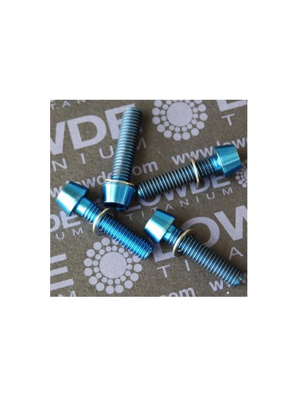 Conjunto 4 tornillos CÓNICOS M6x25 titanio gr. 5 (6Al4V) anodizados azul - Conjunto 4 tornillos CÓNICOS M6x25 titanio gr. 5 (6Al4V) anodizados azul