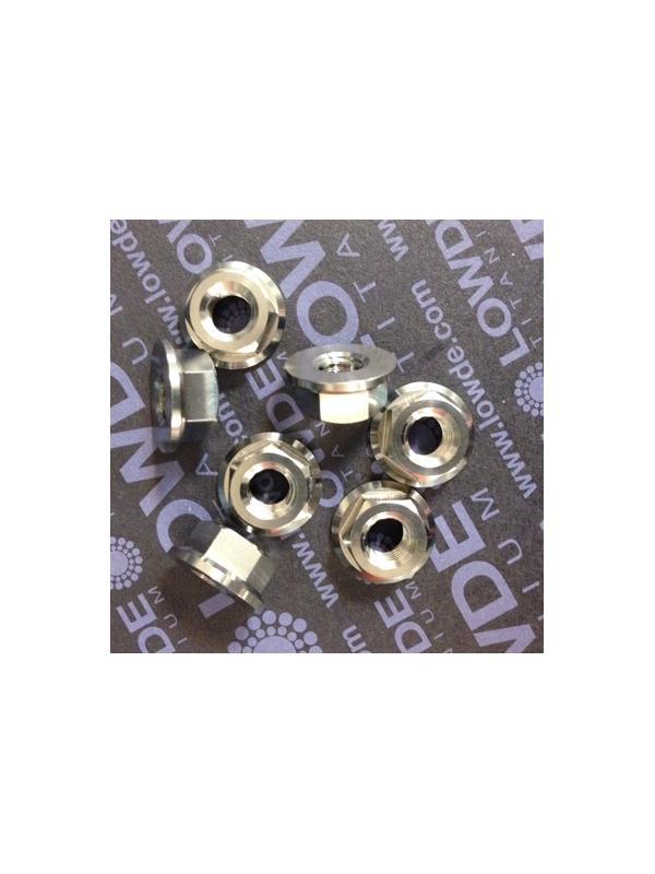 Tuerca DIN 6923 M8 de titanio gr. 5 (6Al4V). Altura tuerca: 8 - Tuerca DIN 6923 M8 de titanio gr. 5 (6Al4V). Altura tuerca 8 mm.