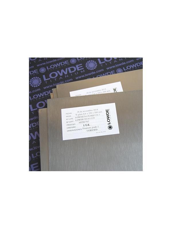 Plancha de Titanio gr. 2 ASTM F67 Tamaño: 250x500 mm. Grosor: 0,6 mm. - Plancha de Titanio gr. 2 ASTM F67 Tamaño: 250x500 mm. Grosor: 0,6 mm. Peso de la plancha: 0,338 kgrs.