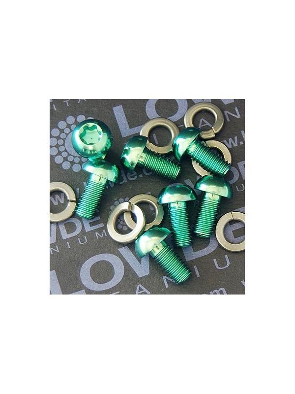 Conjunto 7 tornillos botón M6x12 mm. de titanio gr. 5. Anodizados verde - Conjunto 7 tornillos botón M6x12 mm. de titanio gr. 5. Anodizados verde (6Al4V). Incluye 7 arandelas