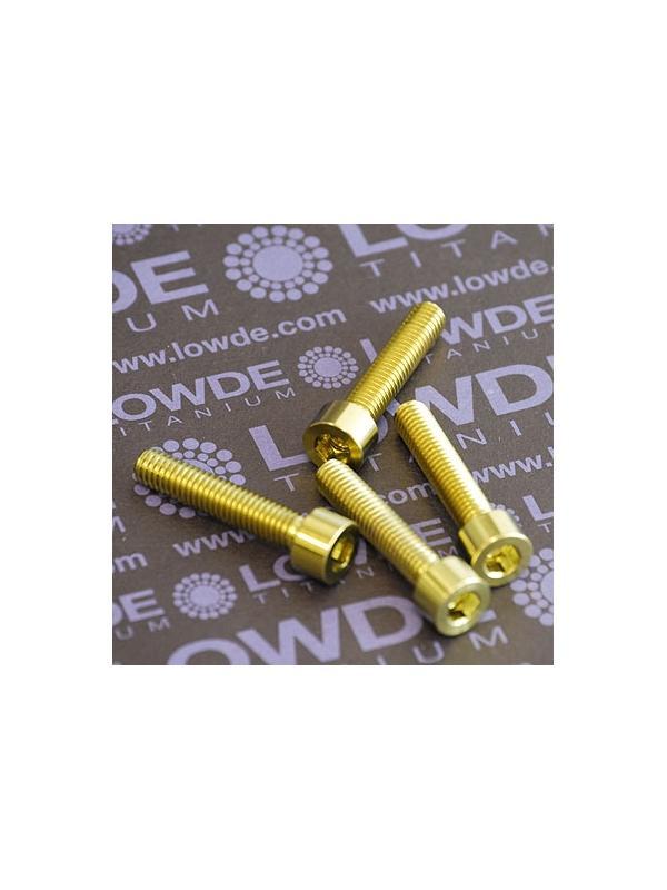 Tornillo DIN 912 M6x30 de Titanio gr. 5 (6Al4V). Anodizado amarillo oro - 1 Tornillo DIN 912 M6x30 de Titanio gr. 5 (6Al4V). Anodizado amarillo oro