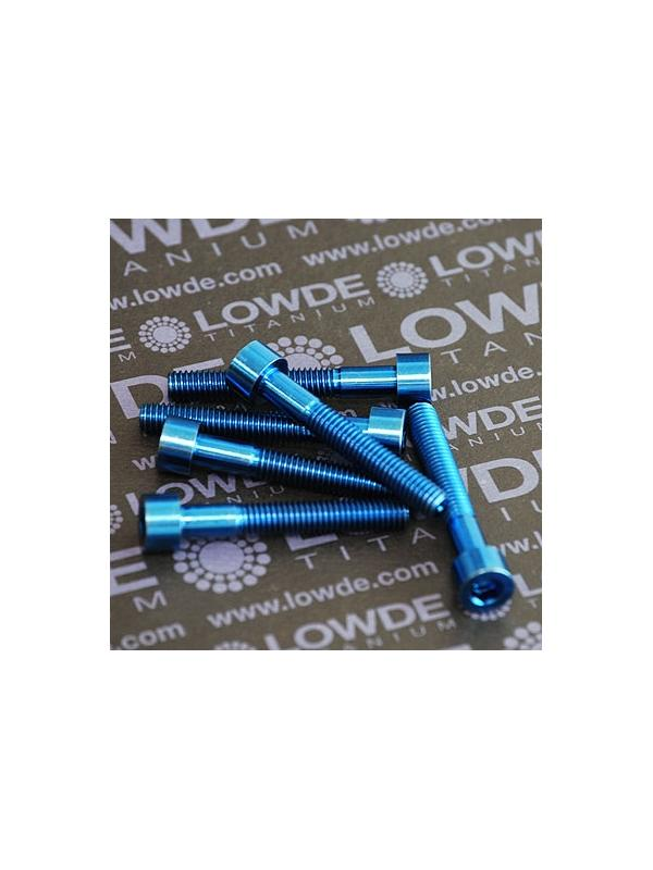 Tornillo DIN 912 M6x40 de Titanio gr. 5 (6Al4V). Anodizado azul intenso - Tornillo DIN 912 M6x40 de Titanio gr. 5 (6Al4V). Anodizado azul intenso