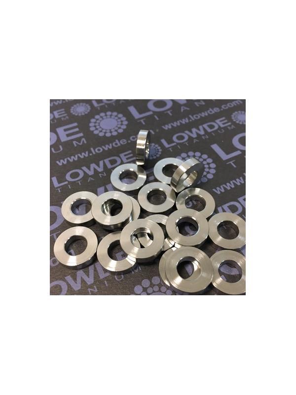 Arandela/casquillo 13x6x3 mm. de Titanio gr. 5 (6Al-4V)  - Arandela/casquillo Diámetro interior: 6,4 mm. Diámetro exterior: 13 mm. Grosor: 3 mm. de Titanio grado 5 (6Al-4V)