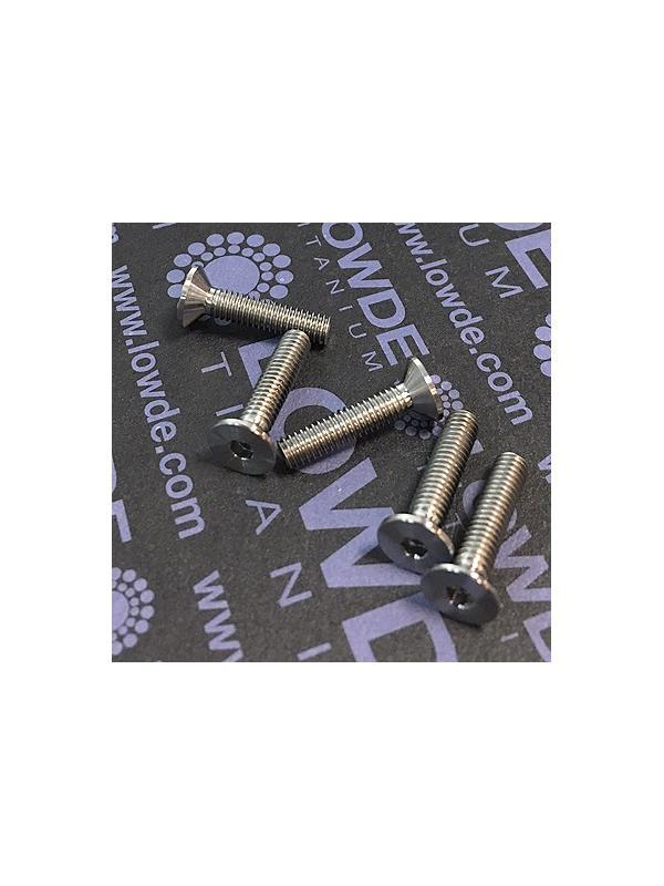 Avellanado DIN 7991 M4x18 mm. de titanio gr. 5 (6Al4V) - Avellanado DIN 7991 M4x18 mm. de titanio gr. 5 (6Al4V).