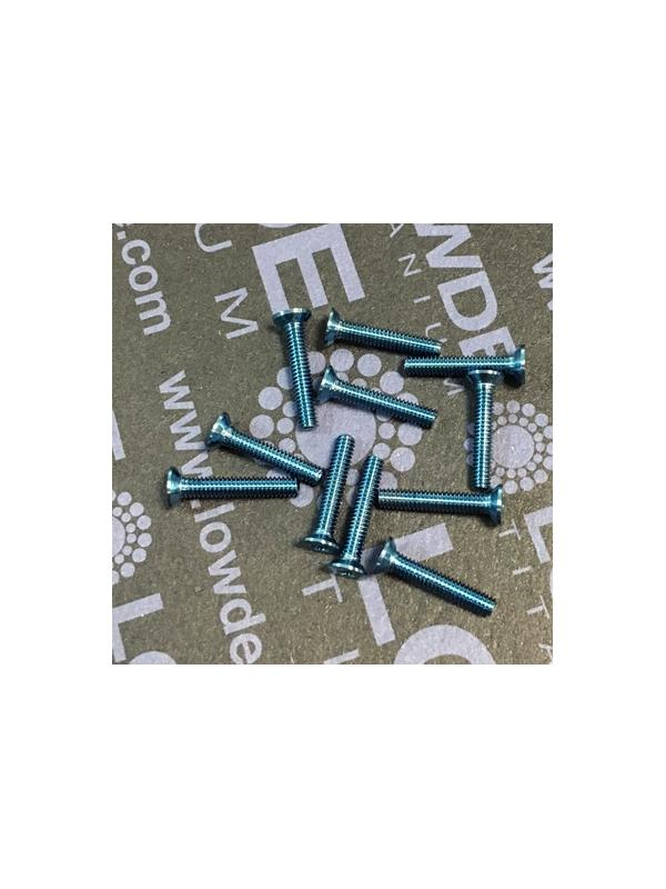 Avellanado DIN 965 M2x12 mm. de titanio gr. 5 (6Al4V). Anod. Azul - Avellanado DIN 965 M2x12 mm. de titanio gr. 5 (6Al4V). Anod. Azul