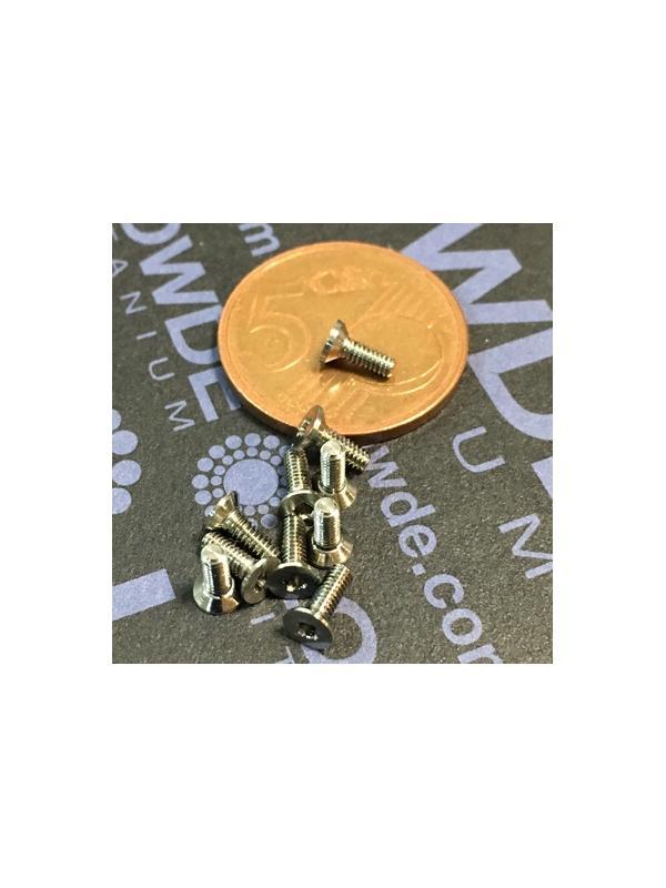 Avellanado DIN 965 M2x6 mm. de titanio gr. 5 (6Al4V) - Avellanado DIN 965 M2x6 mm. de titanio gr. 5 (6Al4V)