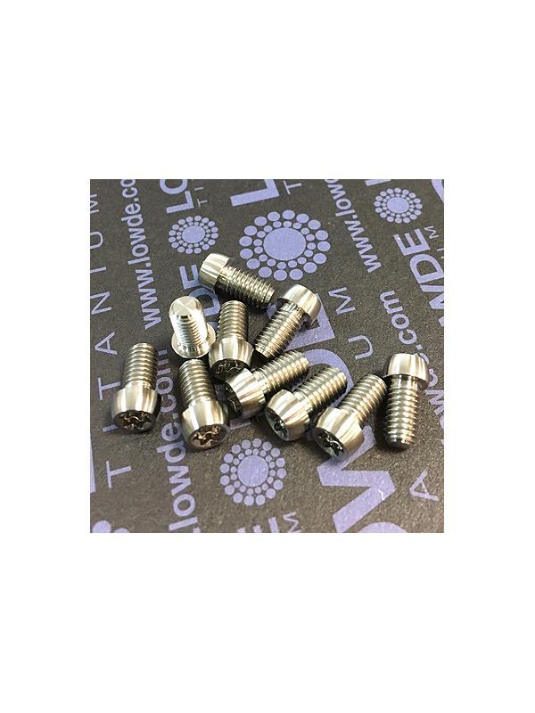 Boton M5x9 mm. Torx T25 de titanio gr. 5 (6Al4V). Diámetro cabeza: 7 mm. - Boton M5x9 mm. Torx T25 de titanio gr. 5 (6Al4V). Diámetro cabeza de 7 mm.