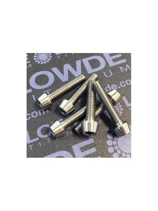 CÓNICO M4x20 titanio gr. 5 (6Al4V) - 1 Tornillo CÓNICO M4x20 mm. de titanio gr. 5 (6Al4V)