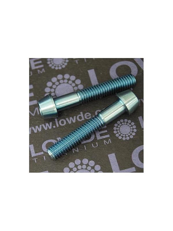 CÓNICO M6x35 titanio gr. 5 (6Al4V). Anodizado azul claro - 1 Tornillo CÓNICO M6x35 titanio gr. 5 (6Al4V). Anodizado azul claro