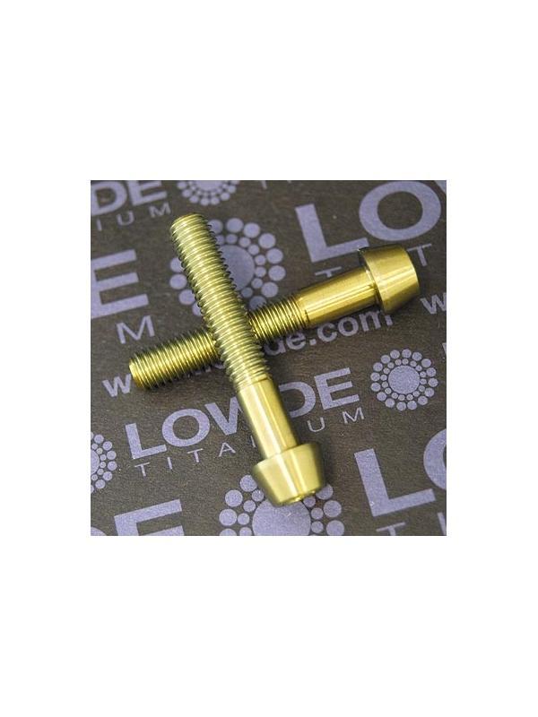 CÓNICO M6x35 titanio gr. 5 (6Al4V). Anodizado color oro - 1 Tornillo CÓNICO M6x35 titanio gr. 5 (6Al4V). Anodizado oro