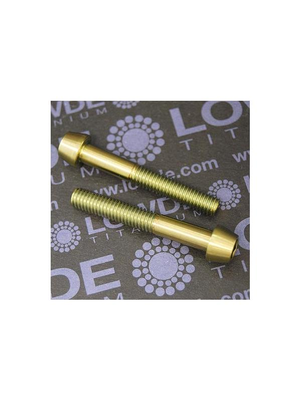 CÓNICO M6x40 titanio gr. 5 (6Al4V). Anodizado oro - 1 Tornillo CÓNICO M6x40 titanio gr. 5 (6Al4V). Anodizado color oro