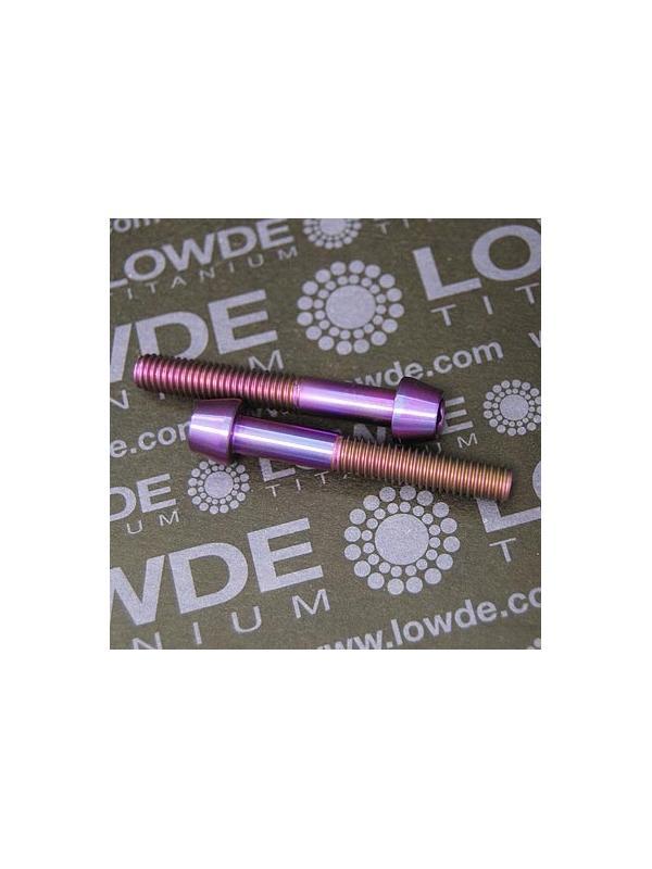 CÓNICO M6x40 titanio gr. 5 (6Al4V). Anodizado violeta - 1 Tornillo CÓNICO M6x40 titanio gr. 5 (6Al4V). Anodizado color violeta