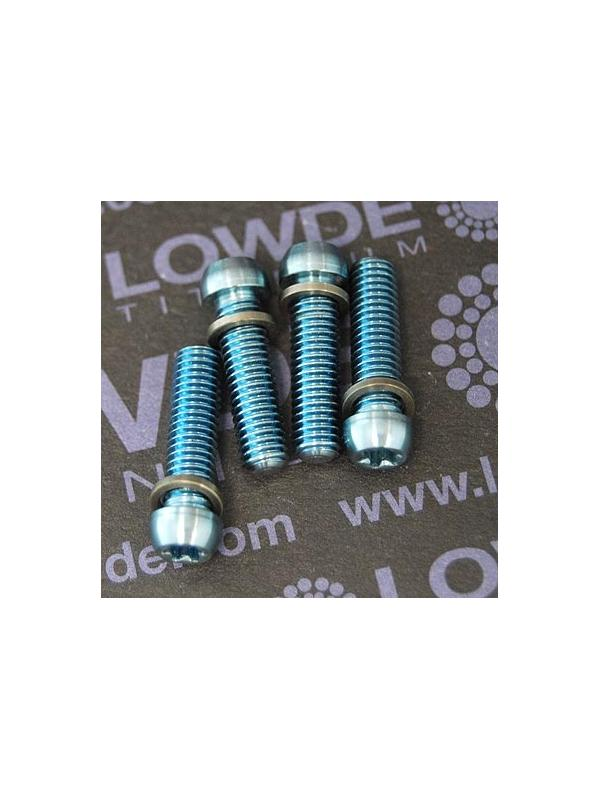 Kit 4 tornillos M5x18 llave torx de titanio gr. 5 con arandelas. Anodizados azul claro - Kit 4 tornillos M5x18 llave torx de titanio gr. 5 con arandelas. Anodizados azul claro. Cabeza muy pequeña.