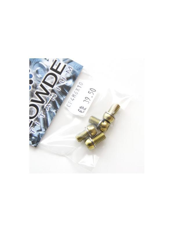 Kit 4 tornillos M6x10 llave torx de titanio gr. 5 con arandelas. Anodizados color oro - Kit 4 tornillos M6x10 llave torx de titanio gr. 5 con arandelas. Anodizados color oro. Cabeza muy pequeña.