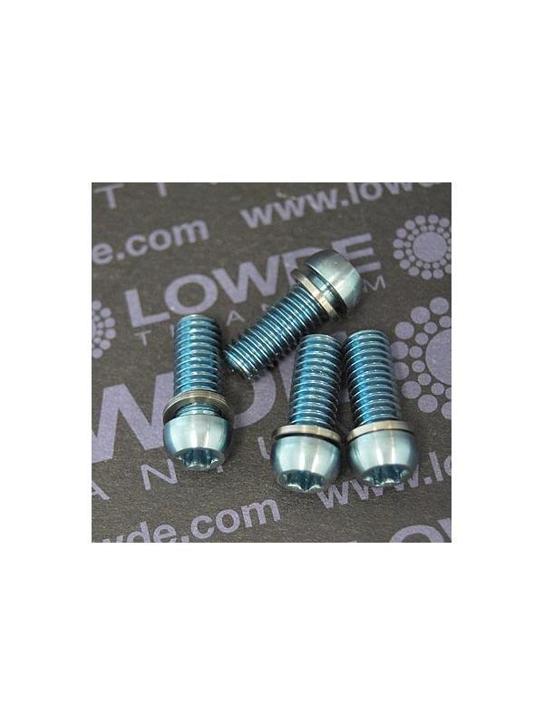 Kit 4 tornillos M6x15 llave torx de titanio gr. 5 con arandelas. Anodizados azul claro - Kit 4 tornillos M6x15 llave torx de titanio gr. 5 con arandelas. Anodizados azul claro. Cabeza muy pequeña.