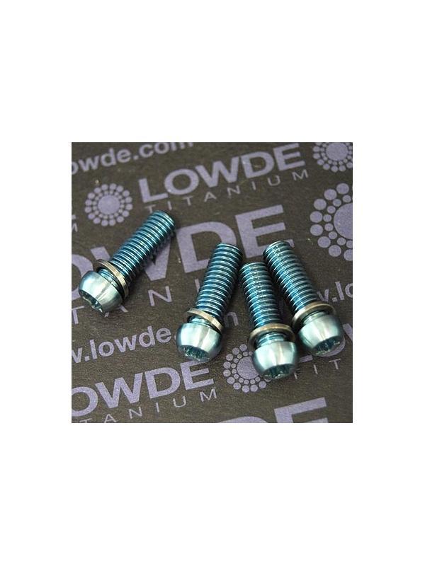 Kit 4 tornillos M6x18 llave torx de titanio gr. 5, arandelas. Azul claro - Kit 4 tornillos M6x18 llave torx de titanio gr. 5 con arandelas. Anodizados azul claro. Cabeza muy pequeña.