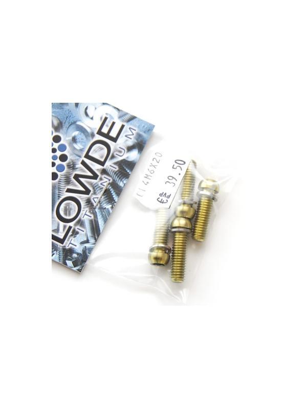 Kit 4 tornillos M6x20 llave torx de titanio gr. 5 con arandelas. Anodizados color oro - Kit 4 tornillos M6x20 llave torx de titanio gr. 5 con arandelas. Anodizados color oro. Cabeza muy pequeña.