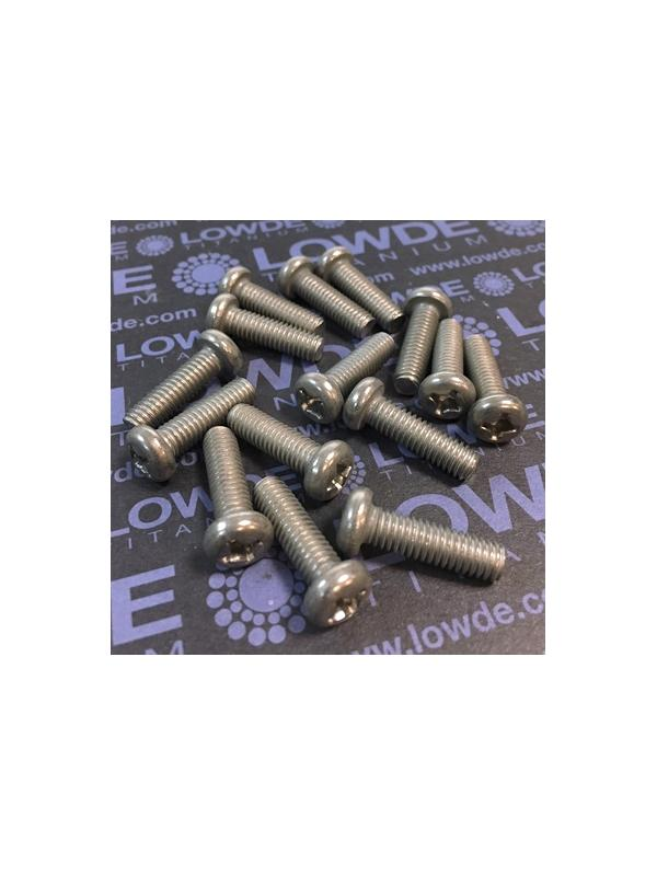Tornillo DIN 7985 M6x20 mm. de titanio gr. 2 (puro) - Tornillo DIN 7985 M6x20 mm. de titanio gr. 2 (puro)