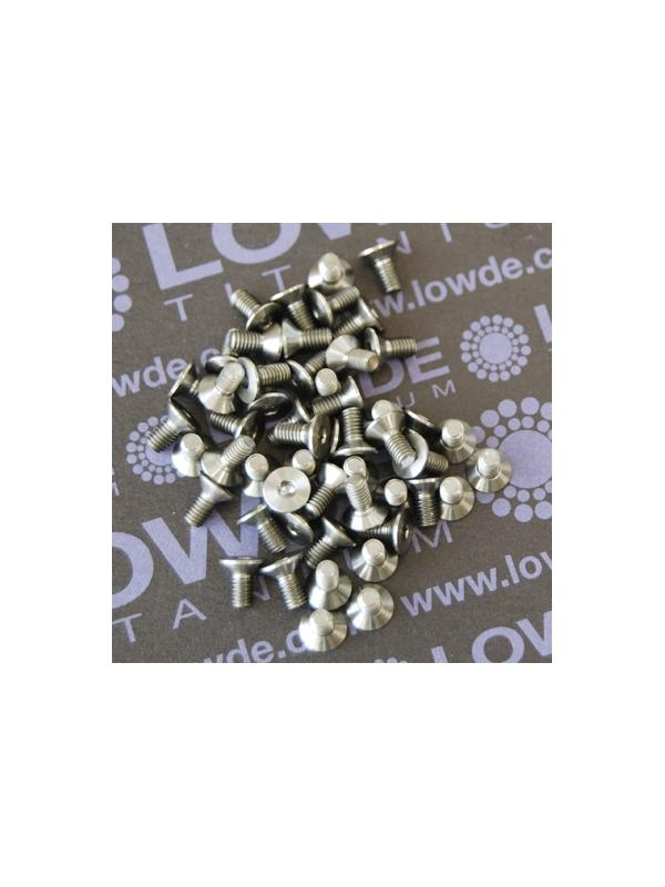 Avellanado DIN 7991 M3x6 mm. de titanio gr. 5 (6Al4V) - Avellanado DIN 7991 M3x6 mm. de titanio gr. 5 (6Al4V)