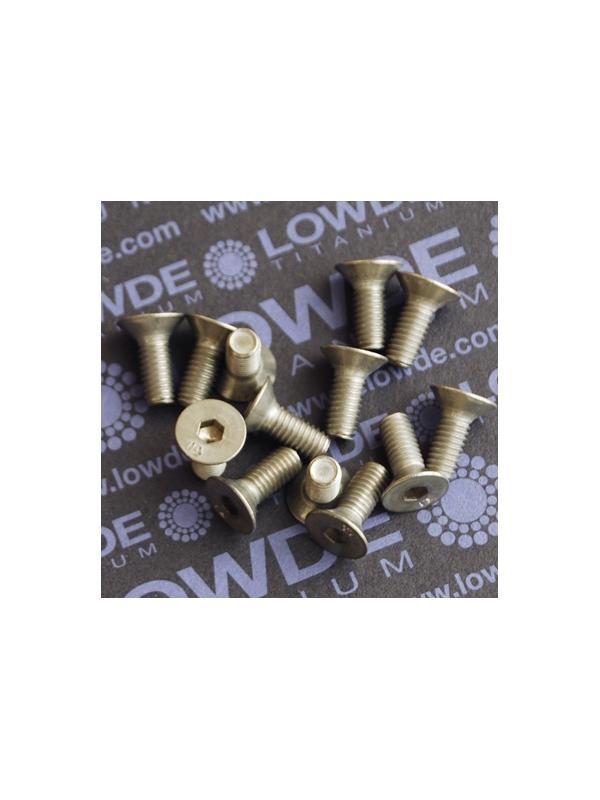 Avellanado DIN 7991 M6x15 mm. de titanio gr. 2 - Avellanado DIN 7991 M6x15 mm. de titanio gr. 2. Estampado.