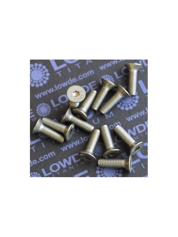 Avellanado DIN 7991 M6x20 mm. de titanio gr. 2 - Avellanado DIN 7991 M6x20 mm. de titanio gr. 2. Estampado.